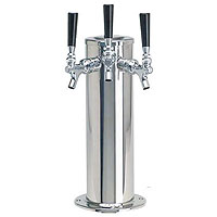Polished Stainless Steel Triple Faucet Draft Beer Tower - 4 Inch Column