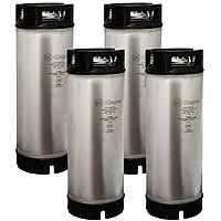 5 Gallon Ball Lock Kegs - Rubber Handle - Made in Italy - Set of 4