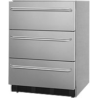 Stainless Steel 3-Drawer Refrigerator, ADA Compliant - ETL-S