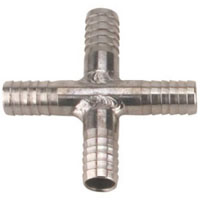 Stainless Steel Cross Fitting for 3/8 Inch I.D. Tubing