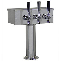 Inventory Reduction - Brushed Stainless Steel T-Style Beer Tower - 3 Chrome Faucets with Stainless Steel Levers