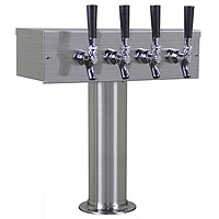 Brushed Stainless Steel T-Style 4 Faucet Beer Tower - 3