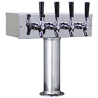 Polished Stainless Steel T-Style 4 Faucet Tower - 3 Inch Column