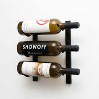 1' Wall Mount 3 Bottle Wine Rack - Satin Black Finish