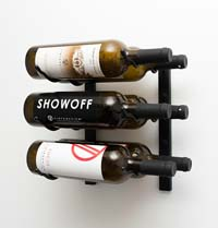 1' Wall Mount 6 Bottle Wine Rack - Satin Black Finish