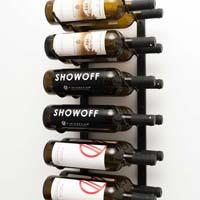2' Wall Mount 12 Bottle Wine Rack - Satin Black Finish