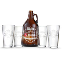 Amber Growler with 4 Pint Glasses